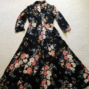 Zara Floral Print Maxi Shirtdress